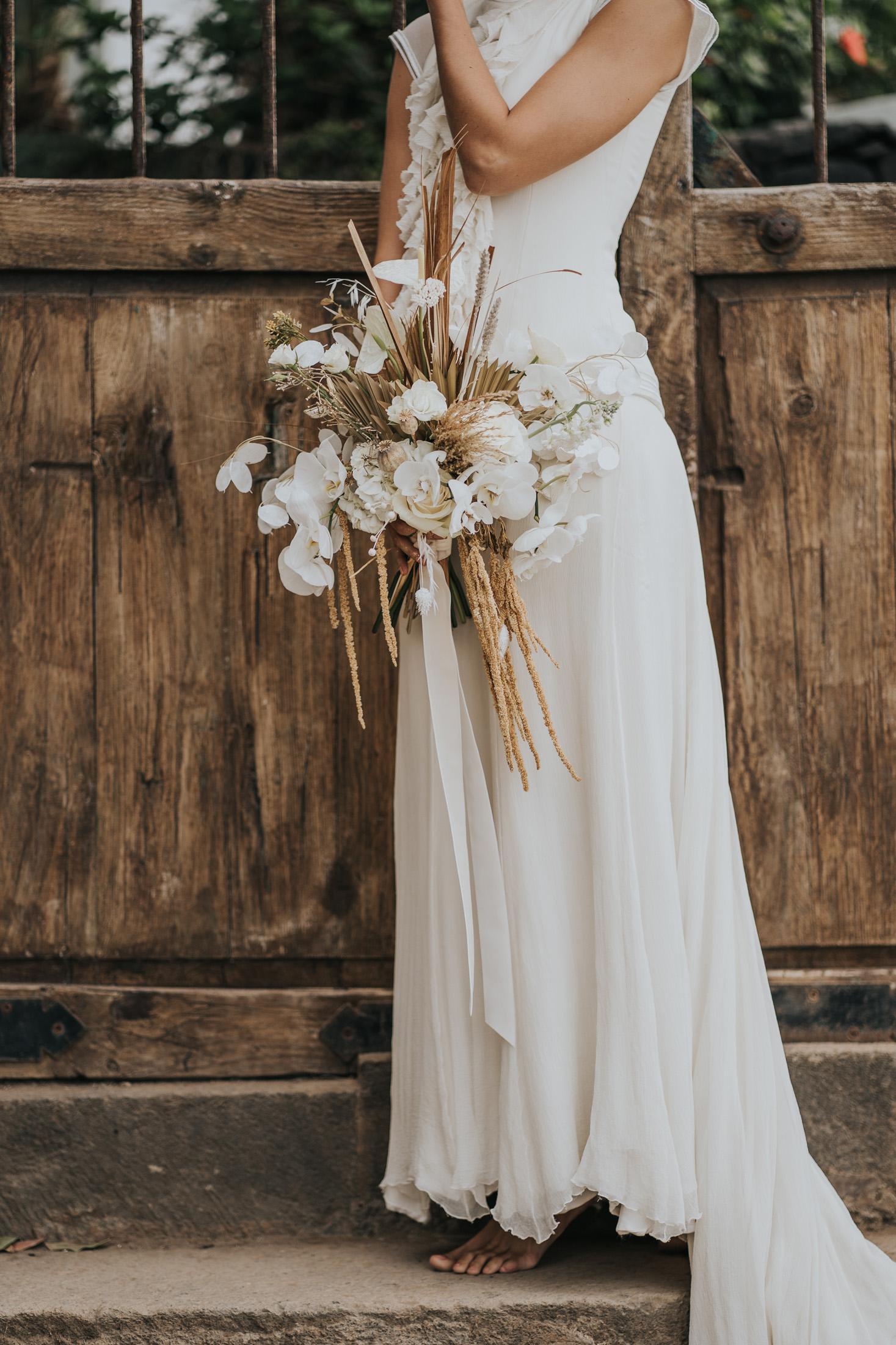 White Boho Bride Bouquet